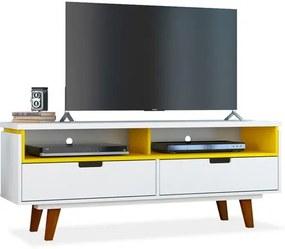 Rack para TV até 40 Polegadas, com 2 gavetas e 2 nichos, Branco com Amarelo, Milly