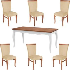 Conjunto Mesa Gallia 200cm com 6 Cadeiras Orfeu Poliéster Branco/Imbuía - Gran Belo
