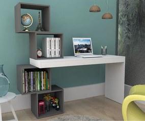 Mesa Escrivaninha com Nichos 3004 Branco/Grafite - Appunto