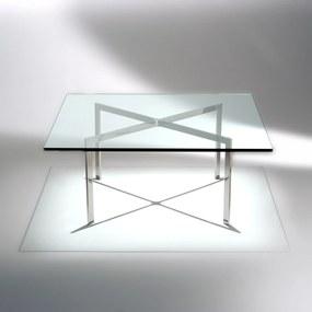 Mesa de Centro Barcelona Aço Inox Tampo Vidro Cristal Studio Mais Design by Mies Van Der Rohe