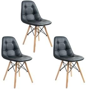 Conjunto 3 Cadeiras Botonê Preta DSW - Empório Tiffany
