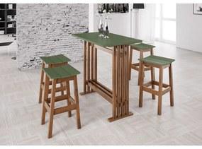 Conjunto Bistrô 4 Banqueta Verde Musgo - Wood Prime MP 33224