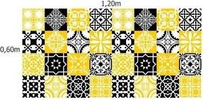 Adesivo Azulejos Retrô Amarelo E Preto (20x20cm)