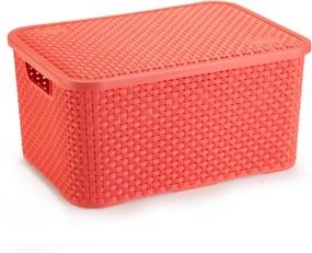 Caixa Organizadora de Plástico Rattan Grande Com Tampa Coral