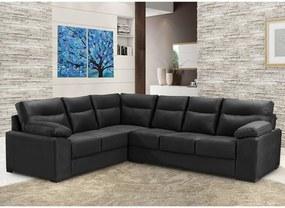 Sofá de Canto Cama InBox Roseau 1,75x2,65m Tecido Courino Preto
