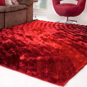 Tapete Silk Shaggy 3D Bordô Degradê  1,00m x 1,50m