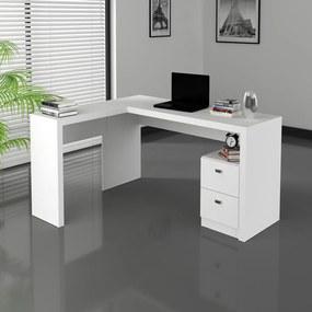 Escrivaninha Mesa Canto Escritório Office 2 Gavetas Branca