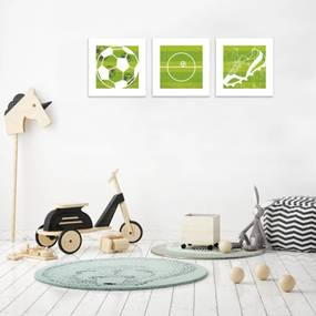 Kit 3 Quadros Decorativos MDF Infantil Bola Campo Chuteira Futebol Verde e Branco - 25x25cm25x25cm