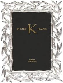 Porta-Retrato K Folhas Prateado Medium