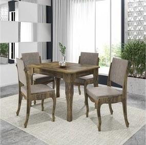 Conjunto de jantar Onix Amadeirado Com 4 cadeiras Pena Caramelo - RV Móveis