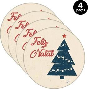 Sousplat Mdecore Natal Feliz Natal 32x32cm Bege 4pçs