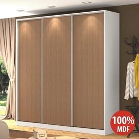 Guarda-roupa Casal 3 Portas Correr Rc3003 Branco/Ocre - Nova Mobile