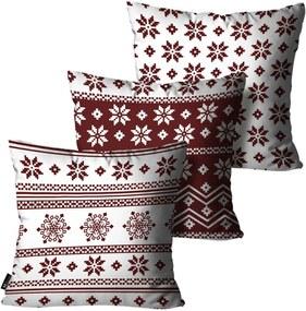 Kit com 3 Almofadas Mdecore de Natal Decorativas Branco 55x55
