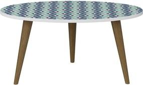 Mesa de Centro 1007R Branco Azul - Be Mobiliario