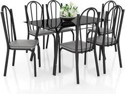 Jogo de Mesa Lótus Tampo de Vidro e 6 Cadeiras 121 Preto/Platina - Art