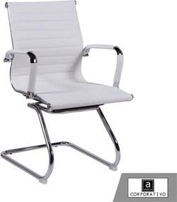 Cadeira Base Fixa em Pu Branca