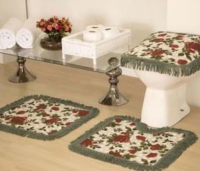 Jogo de Banheiro Decora Estampado 03 Peças - Verde / Floral