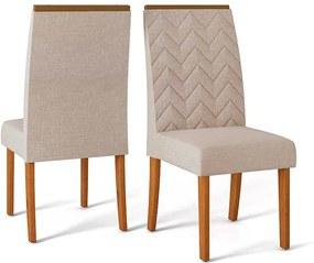 Conjunto 2 Cadeiras Laura Rústico Terrara Tecido Linho Claro