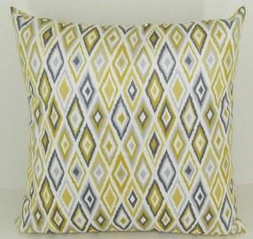 Capa almofada LYON Veludo estampado Losangos amarelo 50x50cm