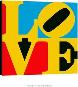 Poster Love - Com Fundo Azul, Vermelho E Preto (60x60cm, com Painel)