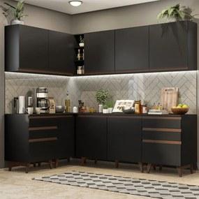 Cozinha Completa de Canto Madesa Reims 382002 com Armário e Balcão Preto Cor:Preto