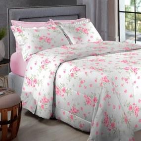 Jogo de Cama Percal 200 fios Queen Home Collection - Appel - Rosa Floral