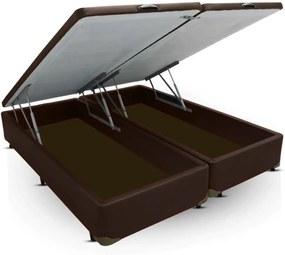 Cama Box Baú Queen size Bi partida marrom com Pistão a gás