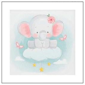 Quadro Para Quarto de Bebê Elefante nas Nuvens - KF 49983 30x30 (Moldura 520)