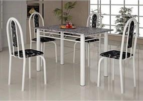 Mesa com 4 cadeiras Íris Branca, Tampo em Granito - Soma Eclipse-Preto