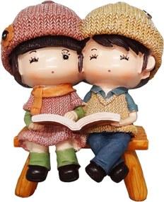 Cofre casal sentado orando/lendo ptl069