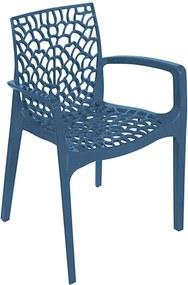 Cadeira Amasya em Polipropileno com Braços Azul