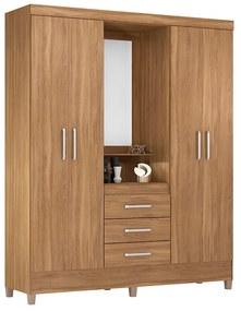 Guarda-Roupa Ester D01 4 Portas com Espelho Amêndola Touch - ADJ DECOR