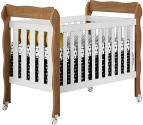 Berço Mini-Cama 3 em 1 Lila Branco/Amadeirado - Carolina Baby
