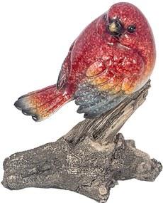 Estátua de Pássaro Vermelho no Galho Greenway - 13x10 cm