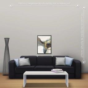 Quadro Abstrato Marrom - Pequeno 65cm x 49cm, Tela + Moldura Preta