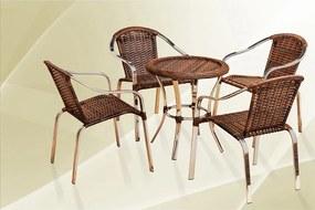 Conjunto De Mesa Tokio 65x65cm Com 4 Cadeiras 79x61x64cm Em Alumínio Cromado E Fibra Sintética