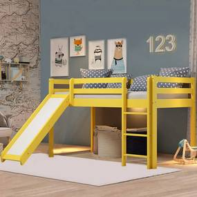 Cama Infantil Kids com Escorregador em Madeira Maciça 3001 Amarelo - Arbol Movelaria