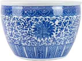 Cachepot em Porcelana Azul e Branco Florido D41cm x A27cm