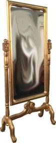 Espelho de Chão Clássico Dourado Folheado a Ouro