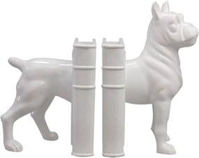 Aparador de Livros Boxer Dog Branco em Resina - Urban - 30,5x24,5 cm