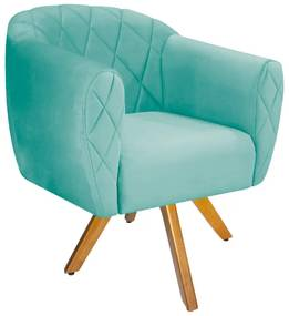 Poltrona Helena Base Giratória de Madeira Suede Azul Tiffany - ADJ Decor