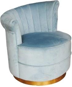 Poltrona com Estofado em Veludo Azul - 76x70x69cm