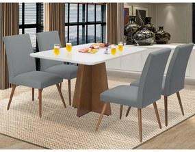 Conjunto Mesa Karina 1,35 m Off White + 4 Cadeiras Lais Linho/Poliester Cinza
