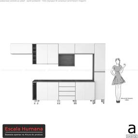 Conjunto Cozinha Completa Cleto 3,55m S/ Tampo C/ 11 Portas Malbec /