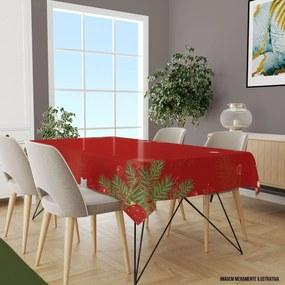 Toalha de Mesa Retangular 10-12 Lugares Folhas com Vermelho 1.45m x 3.20m Único