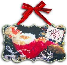 Plaquinha Móbile Papai Noel Dormindo - 26x16 cm