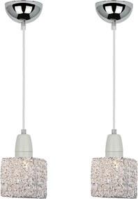 02 Pendentes Lamp Show Glam Com Globo Em Alumínio Al04, 165Xcm Fio Na Cor Prata