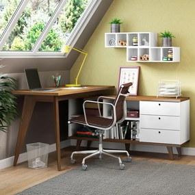 Escrivaninha Madesa Tutti Colors 3 Gavetas Rustic/Branco Cor:Rustic/Branco