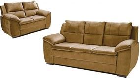 Conjunto De Sofá Com Fibra No Encosto Apogeu 3 E 2 Lugares Tecido Suede Castor - Umaflex