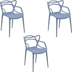 Kit 3 Cadeiras Decorativas Sala e Cozinha Feliti (PP) Azul Caribe - Gran Belo